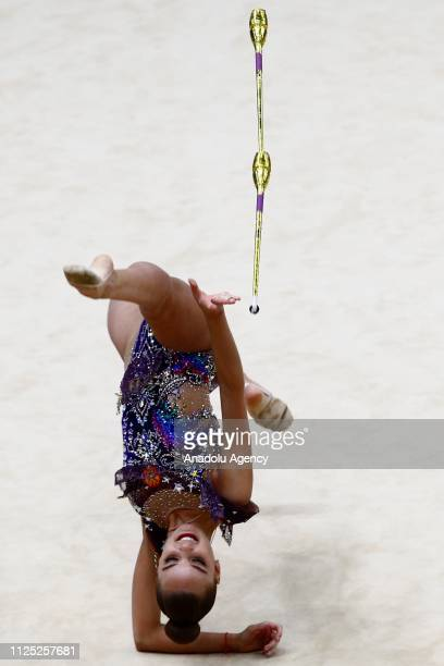 Russian individual rhythmic gymnast Dina Averina performs during the 2019 Alina Kabaeva Gazprom Champions Cup at Moscow's Luzhniki Sports Complex in...