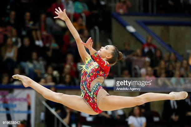 Russian individual rhythmic gymnast Dina Averina performs during the 2018 Moscow Rhythmic Gymnastics Grand Prix GAZPROM Cup in Moscow on February 17,...
