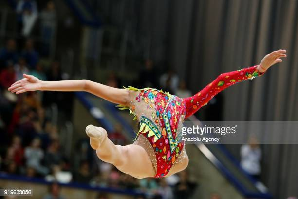 Russian individual rhythmic gymnast Dina Averina performs during the 2018 Moscow Rhythmic Gymnastics Grand Prix GAZPROM Cup in Moscow on February 17...
