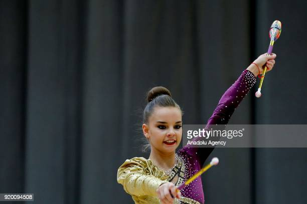 Russian individual rhythmic gymnast Dina Averina performs during the 2018 Moscow Rhythmic Gymnastics Grand Prix GAZPROM Cup in Moscow Russia on...