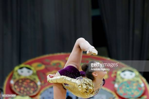Russian individual rhythmic gymnast Dina Averina performs during the 2018 Moscow Rhythmic Gymnastics Grand Prix GAZPROM Cup in Moscow, Russia on...