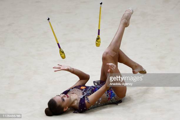 Russian individual rhythmic gymnast Dina Averina performs final during the Rhythmic Gymnastics GrandPrix Moscow 2019 at Moscow's Luzhniki Sports...