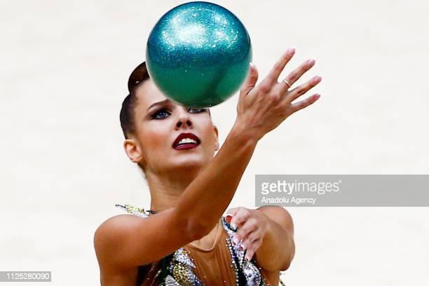 Russian individual rhythmic gymnast Yekaterina Selezneva performs during the 2019 Alina Kabaeva Gazprom Champions Cup at Moscow's Luzhniki Sports...