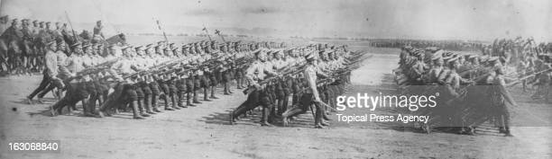 Russian infantry parading with fixed bayonets Russia circa 1914