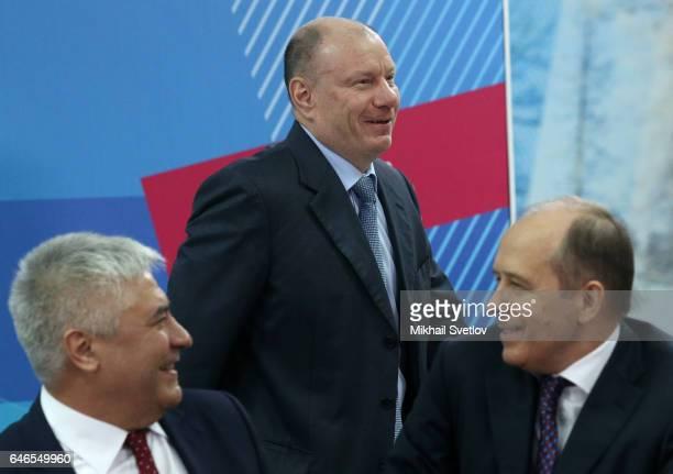 Russian Interior Minister Vladimir Kolokoltsev, businessman Vladimir Potanin adnd Federl Security Service Chief Alexander Bortnikov attend the...