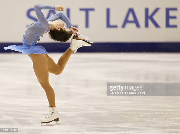 Russian Irina Slutskaya performs her women's short program during the figure skating competition at the Olympic Ice Center 19 February 2002 during...