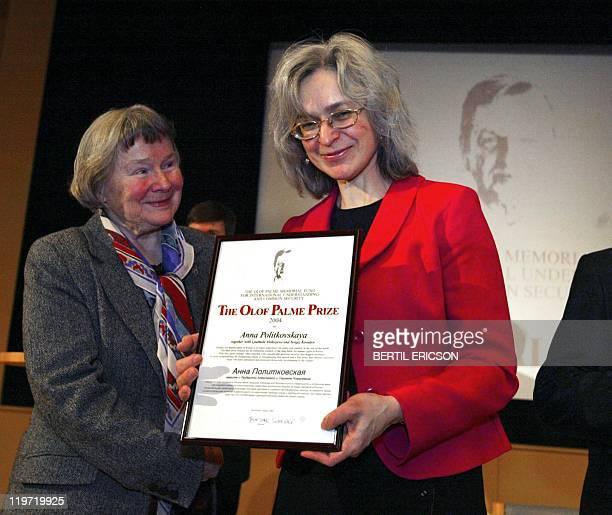 Russian journalist Anna Politkovskaya and Lisbet Palme wife of slain Swedish Prime Minister Olof Palme pose for the photographer in Stockholm 28...