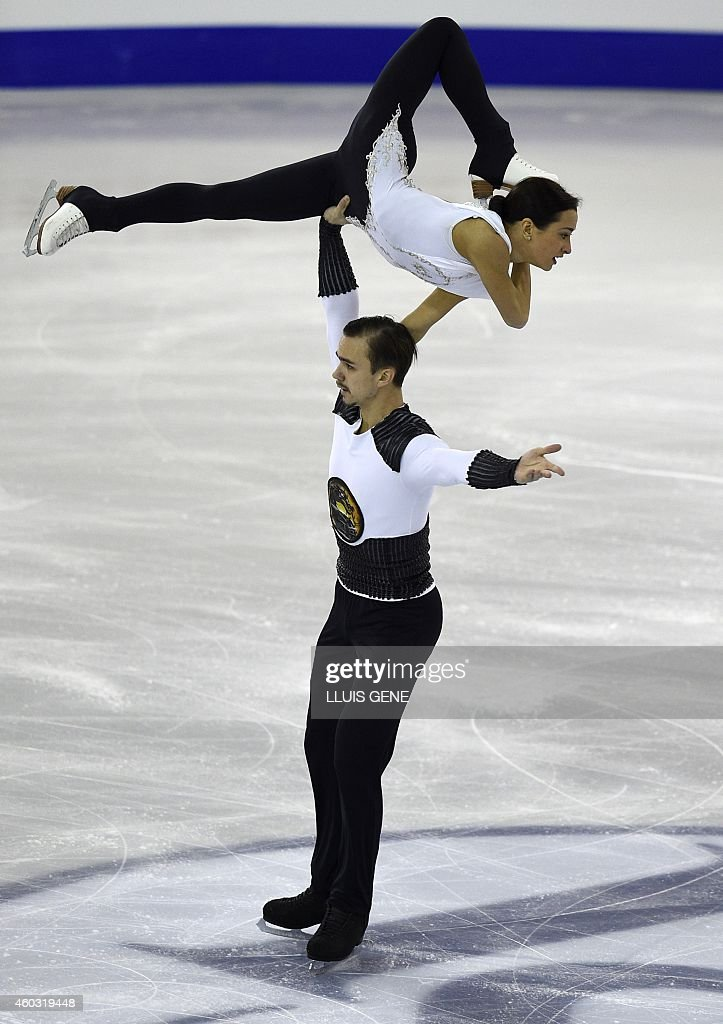 Russian Ksenia Stolbova and Fedor Klimov perform during the senior pairs short program at the ISU Grand Prix of figure skating Final 2014 in the Barcelona International Convention Centre, on December 11, 2014.