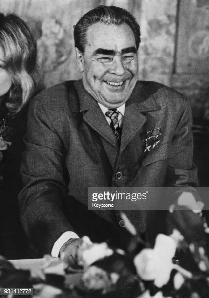Russian leader Leonid Brezhnev during his talks with French President Georges Pompidou at the Château de Rambouillet near Paris France 29th June 1973