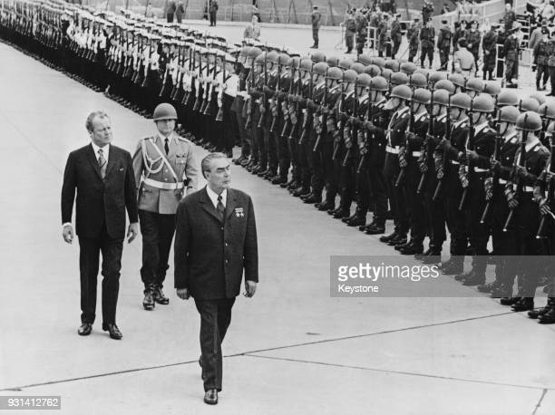 Russian leader Leonid Brezhnev reviews a detachment of the Bundeswehr at Cologne Bonn Airport at the end of his state visit to Germany 22nd May 1973...