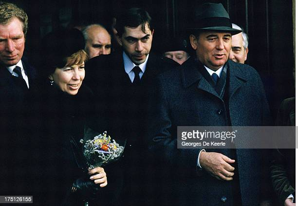 Russian leader Mikhail Gorbachev and his wife Raisa Gorbachova during an official visit to Great Britain on December 21 1984 in Edinburgh Scotland