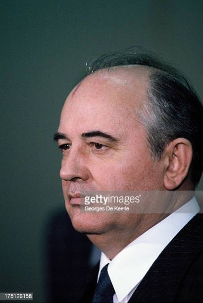 Russian leader Mikhail Gorbachev during an official visit to Great Britain on December 21 1984 in Edinburgh Scotland