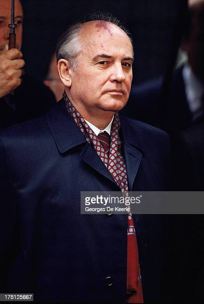 Russian leader Mikhail Gorbachev during an official visit to London on April 6 1989 in London England