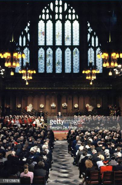 Russian leader Mikhail Gorbachev holds a conference at Guildhall during an official visit to London on April 7 1989 in London England