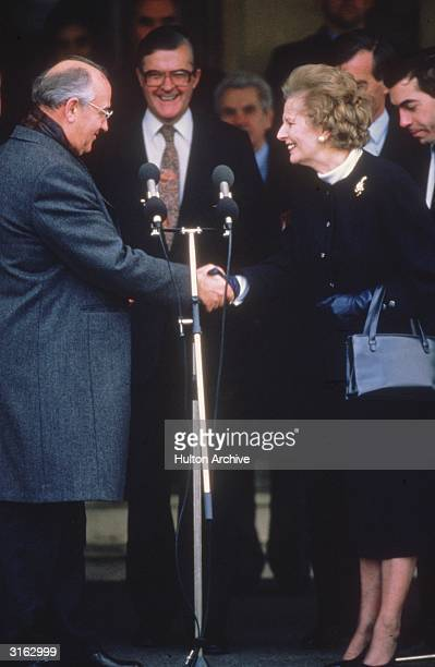 Russian leader Mikhail Gorbachev holds talks with British prime minister Margaret Thatcher at RAF Brize Norton in Oxfordshire Conservative politician...