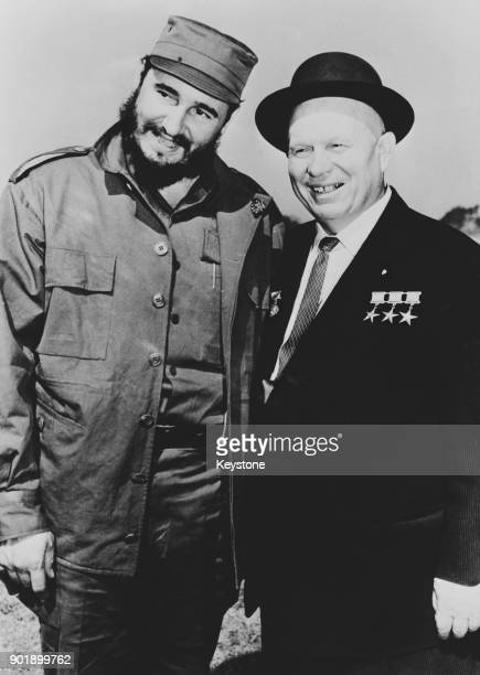 Russian leader Nikita Khrushchev with Cuban leader Fidel Castro in the woods near Moscow during the latter's first visit to Russia 7th May 1963