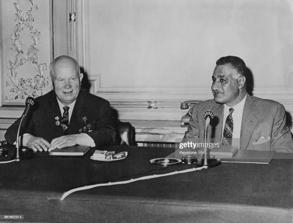 Russian leader Nikita Khrushchev with Egyptian President Gamal Abdel... News Photo - Getty Images