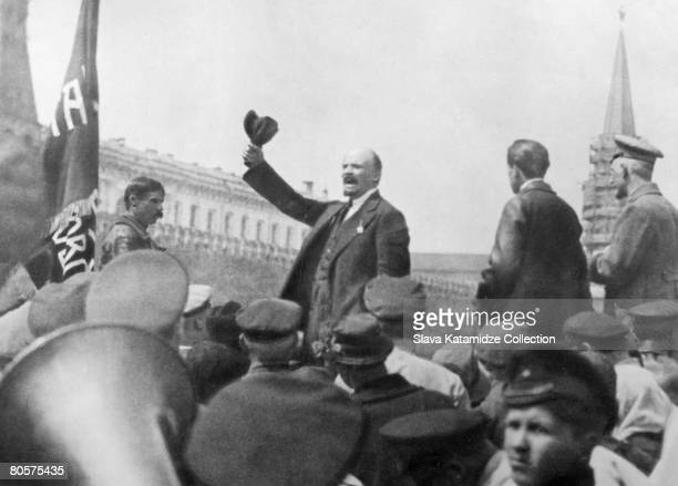 Russian leader Vladimir Lenin addresses the troops of the Red Army in Moscow's Red Square 25th May 1919