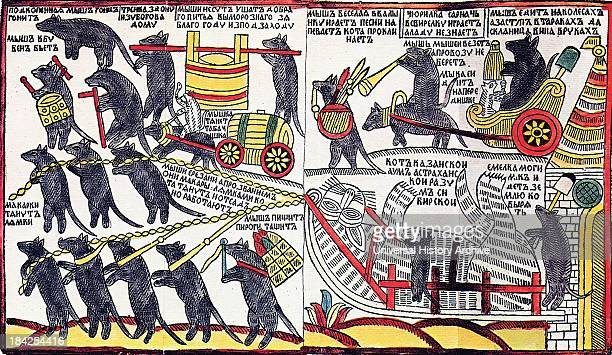 Russian Lubok print 'The Mice are burying the Cat' Circa 1760's Commonly thought to be a caricature of Peter the Great's burial authored by his...