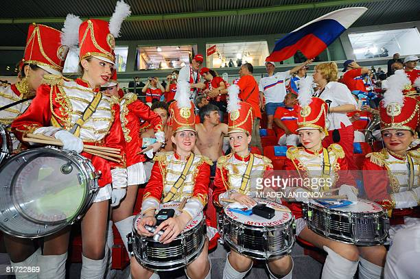 Russian majorettes are pictured before the Euro 2008 championships semifinal football match Russia vs Spain on June 26 2008 at ErnstHappel stadium in...