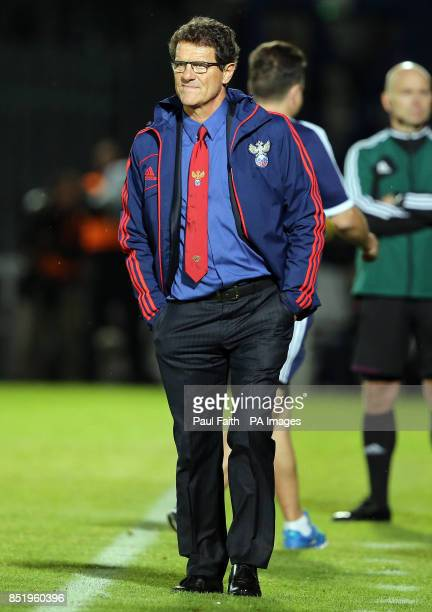 Russian Manager Fabio Capello after his teams defeat to Northern Ireland during the 2014 FIFA World Cup Qualifier at Windsor Park Belfast