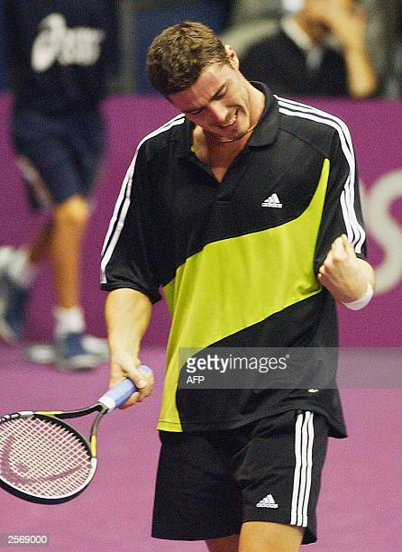 Russian Marat Safin reacts during his match against French Fabrice Santoro during the Lyon's ATP tournament 07 October 2003 at the Sport Palace in...