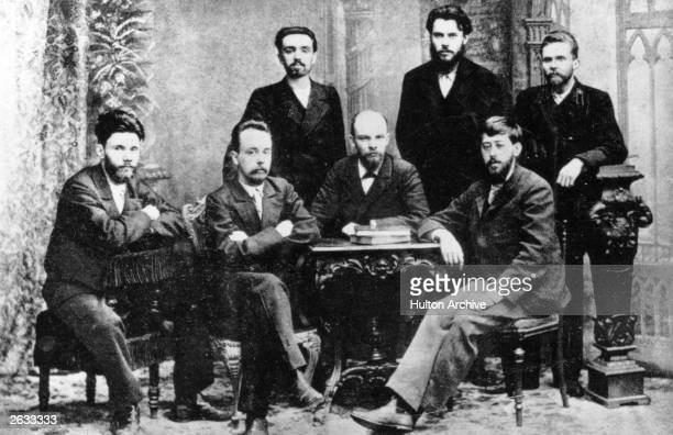Russian Marxist revolutionaries the founders of the St Petersburg Union for the Liberation of the Working Class Sitting left to right VV Starkov GM...