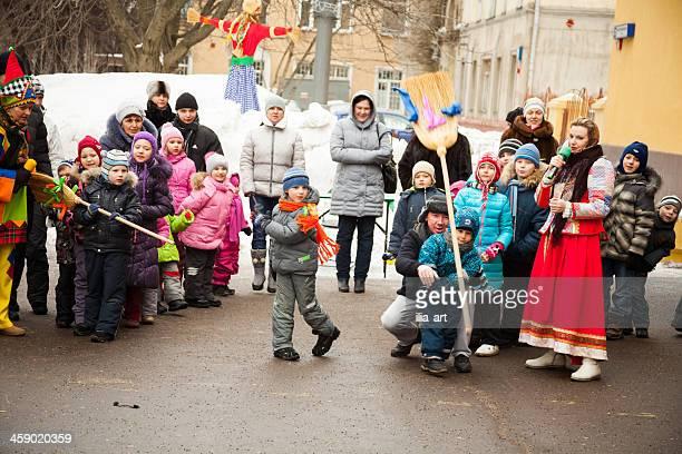 Russian Maslenitsa, children playing