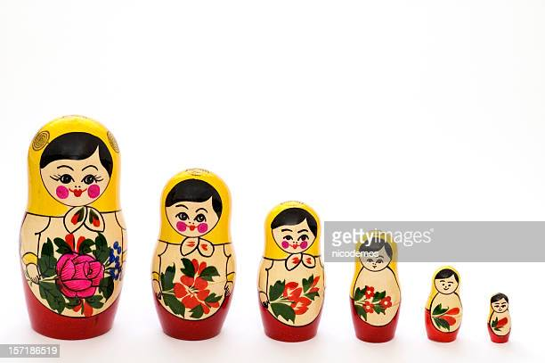 Russian matryoshka dolls in different sizes