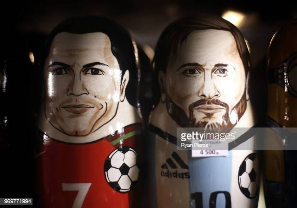 Russian Matryoshka dolls of Cristiano Ronaldo of Portugal and Lionel Messi of Argentina are seen in a souvenir souvenir shop ahead of the 2018 FIFA...