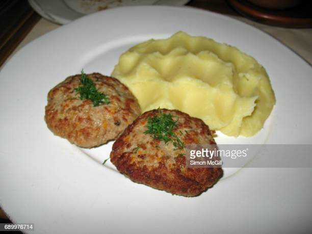 Russian meat patties with mashed potato