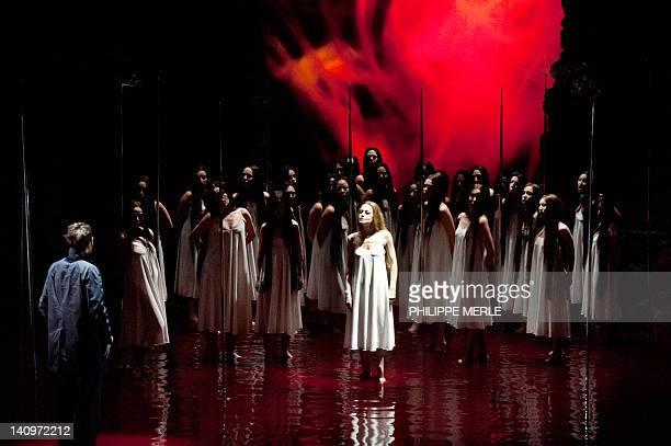 Russian Mezzosoprano Elena Zhidkova and Austrian Tenor Nikolai Schukoff perform in a rehearsal of 'Parsifal' an opera by Richard Wagner on March 6...