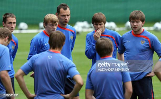 Russian midfielder Vladimir Bystrov Russian defender Renat Yanbaev Russian defender Sergei Ignashevich Russian forward Dmitry Sychev and Russian...