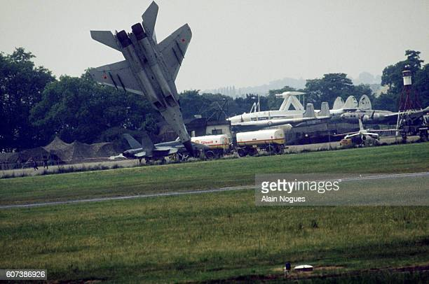A Russian MiG29 dives toward the earth as it crashes at the 1989 Paris Air Show Though the aircraft is destroyed the pilot ejected before the crash...