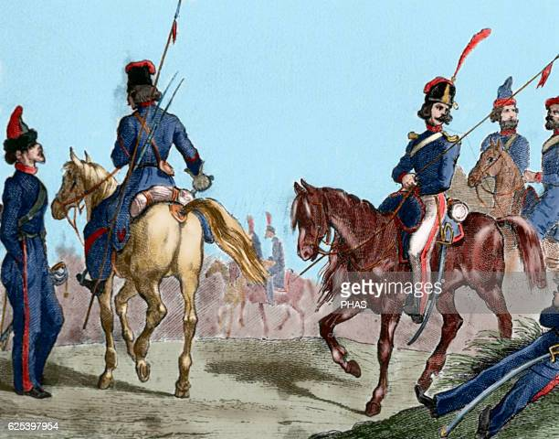 Russian militaries Cossacks Engraving 18th century Colored