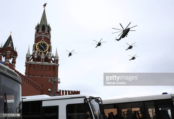Russian military aircraft perform a fly-by during an air parade at Red Square on May 9, 2020 in Moscow, Russia. The parade of warplanes over the...