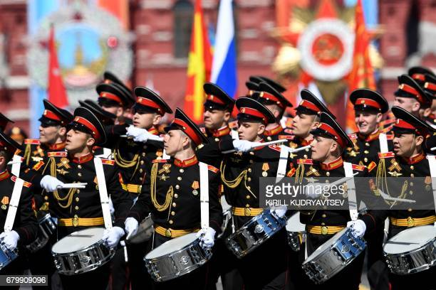 A Russian military band performs at Red Square during a rehearsal for the Victory Day military parade in Moscow on May 7 2017 / AFP PHOTO / Kirill...