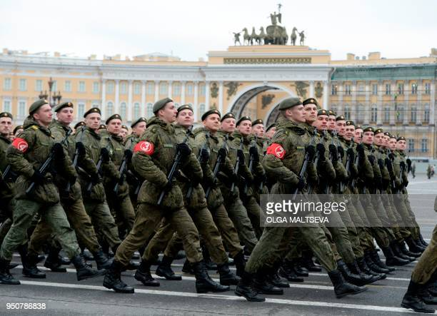 Russian military cadets march on Dvortsovaya Square during a rehearsal for the Victory Day military parade in Saint Petersburg on April 24 2018...
