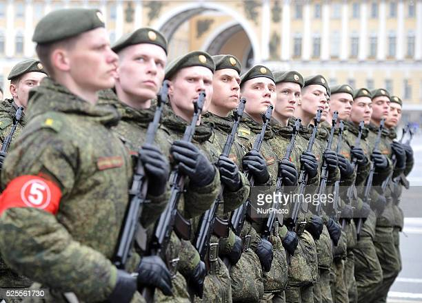 Russian military cadets march on Dvortsovaya Square during a Victory Day parade rehearsal on the Dvortsovaya Square in central Saint Petersburg...