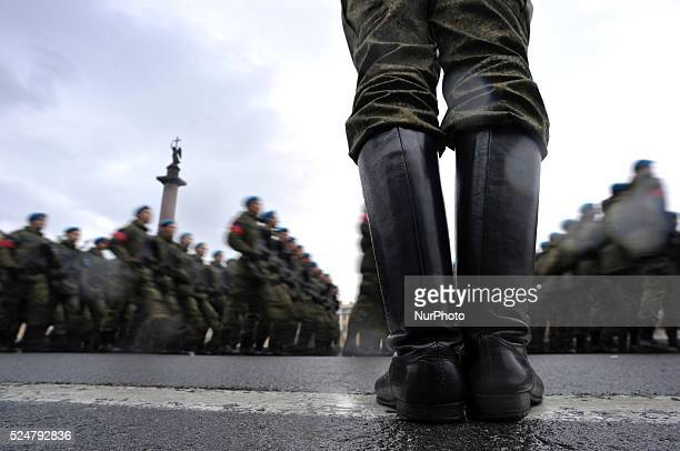 Russian military cadets march on Dvortsovaya Square in St Petersburg Russia on April 2016 during a rehearsal of the military parade that will take...