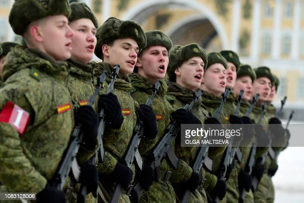 Russian military cadets rehearse for January 27 military parade marking the 75th anniversary of the lifting of the Nazi siege of Leningrad at...