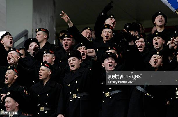 Russian military cadets watch the Russian Football League Championship match between Lokomotiv Moscow and Krylia Sovetov Samara at the Lokomotiv...