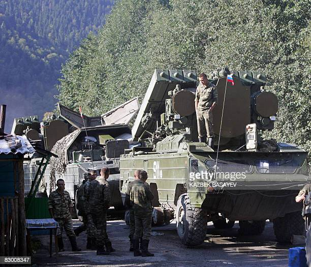 A Russian military column is parked on a road outside of Tskhinvali on September 25 2008 A senior official in the European Union's monitoring mission...