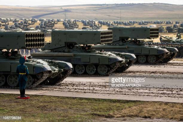 Russian military equipment parade at the end of the day of the Vostok2018 military drills at Tsugol training ground not far from the borders with...