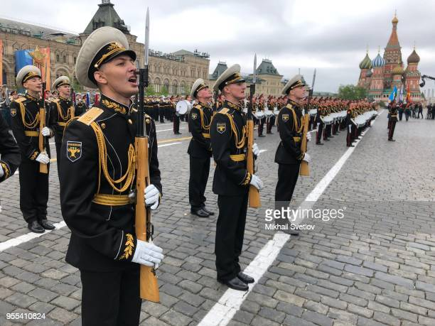 Russian military orchestra musician march during the Victory Day military parade rehearsals in Red Square on May 6 2018 in Moscow Russia The military...