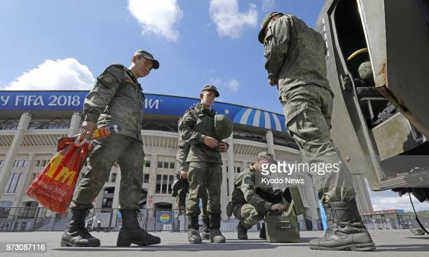 Russian military personnel are pictured at Luzhniki Stadium ahead of the football World Cup finals in Moscow on June 13 2018 ==Kyodo