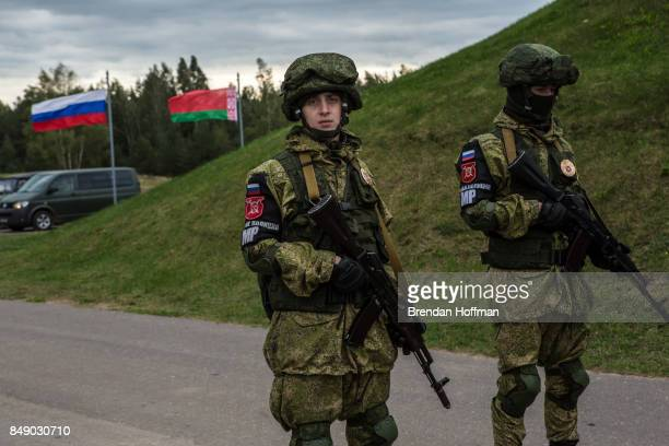 Russian military police stand guard at the Asipovichy military training ground during the Zapad 2017 military exercises on September 18 2017 in in...