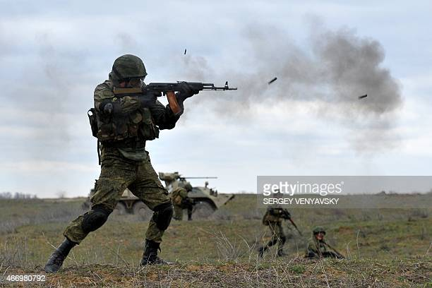 Russian military troops take part in a military drill on Sernovodsky polygon close to the Chechnya border, some 260 km from south Russian city of...