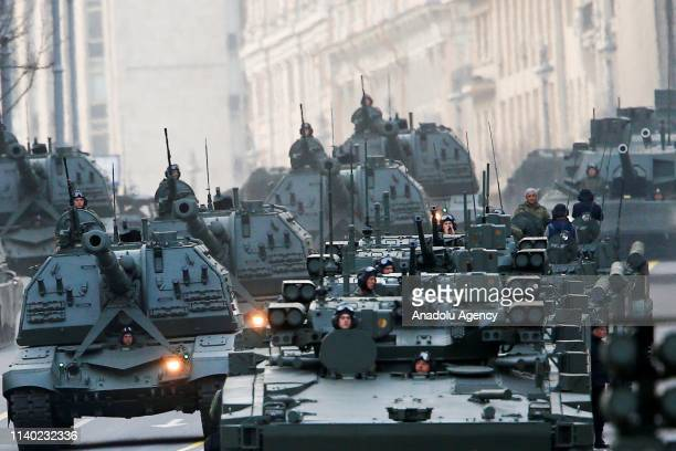 Russian military vehicles arrive on Tverskaya Street for a rehearsal of the military parade ahead of the celebrations on May 9 to mark the 74th...