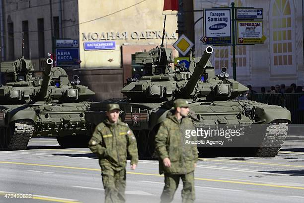 Russian military vehicles parade through the Tverskaya Street during the general rehearsal of Russia's Victory Day in Moscow Russia on May 7 2015